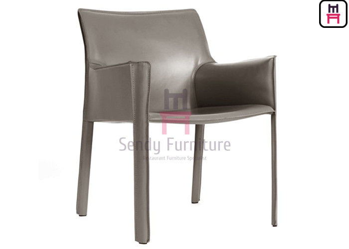Tanned Leather Dining Room Chairs , Hotel Modern Fiberglass Chair With Armrest